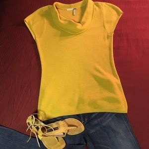 Classiques Entier mustard colored cowl sweaters